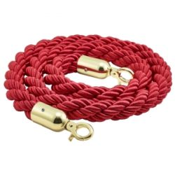 Barrier Rope Red- Brass Plated Ends
