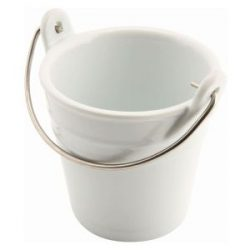 Genware Ceramic Bucket W/ St/St Handle 9cm Dia