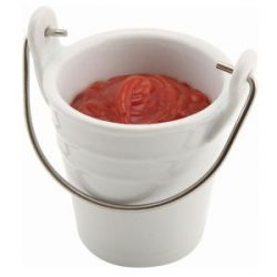 Genware Ceramic Bucket W/ St/St Handle 6.5cm Dia