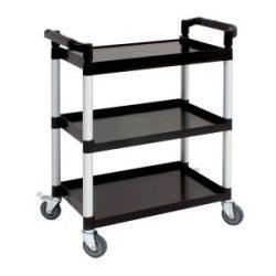 Genware Small 3 Tier PP Trolley Black Shelves