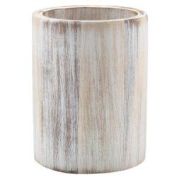 GenWare White Wash Acacia Wood Cutlery Cylinder