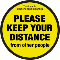 200mm Diameter Please keep your distance from other people floor graphic