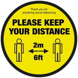 200mm Diameter Please keep your distance text & symbol floor graphic