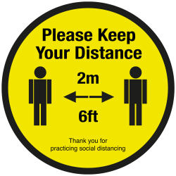 200mm Diameter Please keep your 2 metre social distancing floor graphic