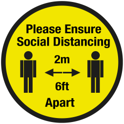 200mm Diameter Please ensure of social distancing floor graphic