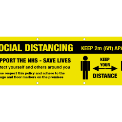 10ft x 4ft Social Distincing Banner. Keep 2m Apart. Support the NHS & Save Lives