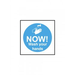 100x100mm Now wash your hands self adhesive vinyl
