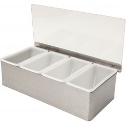 Stainless Steel 4 Compartment Condiment Holder - OPEN