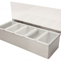 Stainless Steel 5 Compartment Condiment Holder - OPEN