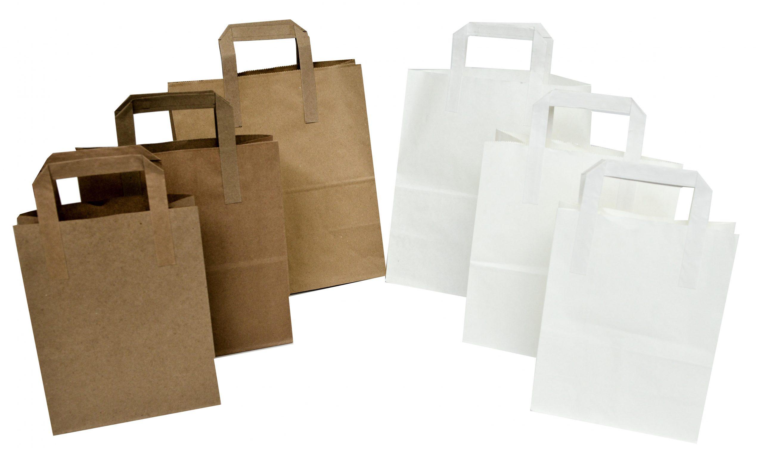 Flat handled Kraft food bags