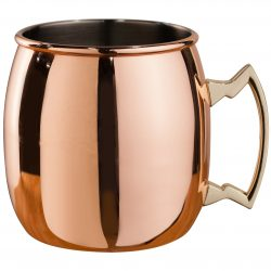 500 ml Copper Plated Curved Moscow Mule Mug - Brass Handle