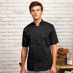 Mens Short Sleeve Chefs Jacket Black