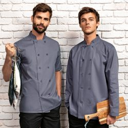 Mens Short Sleeve Chefs Jacket Grey