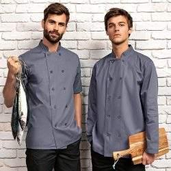 Mens long sleeve chef's jacket grey