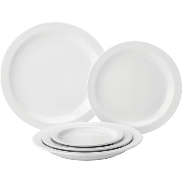 Pure White Narrow Rim Plates